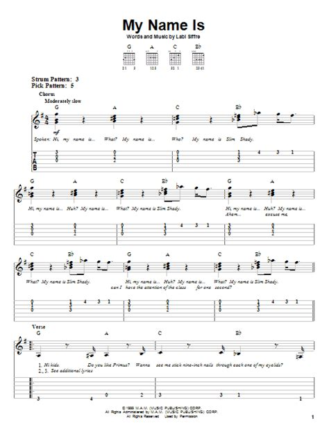 My Name Is   Sheet Music Direct